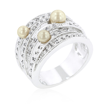 Fashion Champagne Pearl Cocktail Ring
