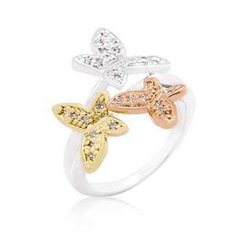 Fashion Triple Butterfly CZ Ring
