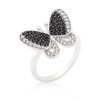Fashion Black and White CZ Butterfly Ring