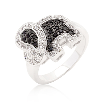 Fashion Black and White CZ Elephant Ring