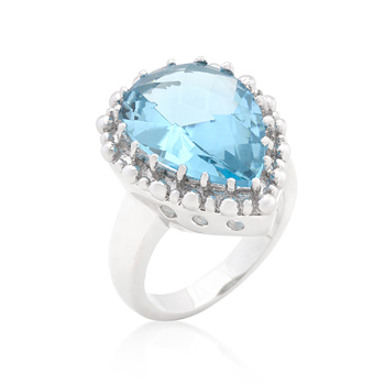 Fashion Solitaire Blue Topaz Cocktail Ring