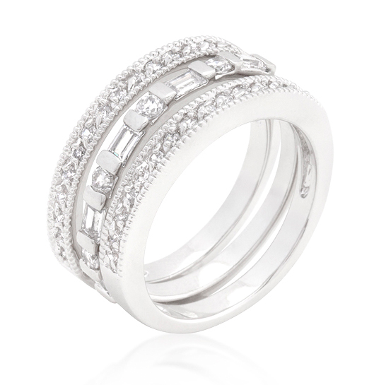 Eternity Simple CZ Wedding Ring Set