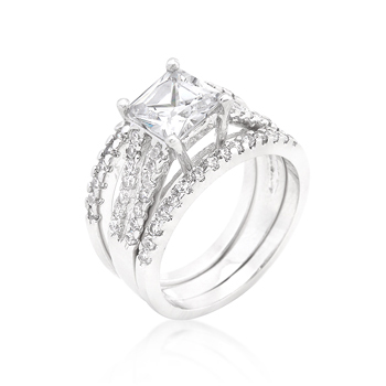 Wedding Princess Cut CZ Triple Bridal Set