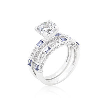 Wedding Clear and Tanzanite CZ Ring Set