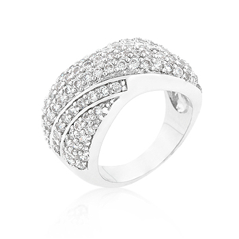 Classic Pave Overlap Diagonal Wedding Ring