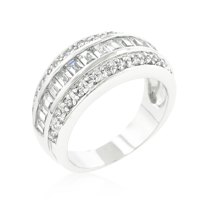 Classic 3-Row Princess Cut Cubic Zirconia Wedding Band