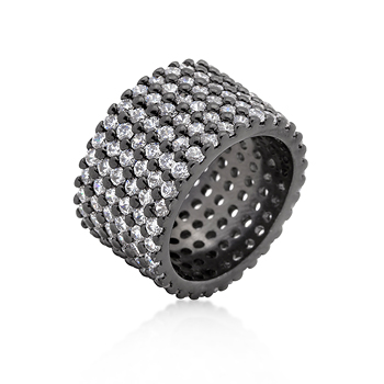 Cocktail Hematite Wide Pave CZ Ring