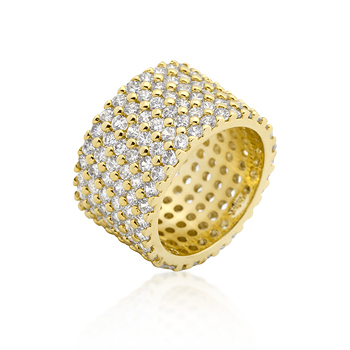 Cocktail Goldtoned Wide Pave CZ Ring
