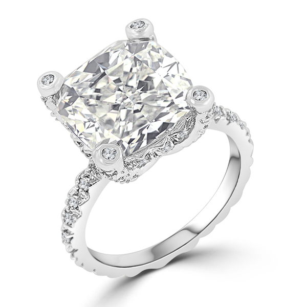 7.2 CT Cushion Cut Brilliant CZ Engagement Ring