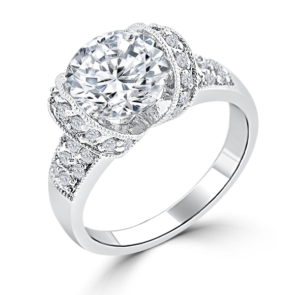 2.79 CT Tension Set Cubic Zirconia Engagement Ring