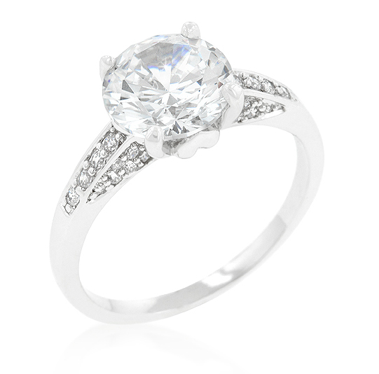 Contemporary Engagement Ring with Large 3.8 CT CZ