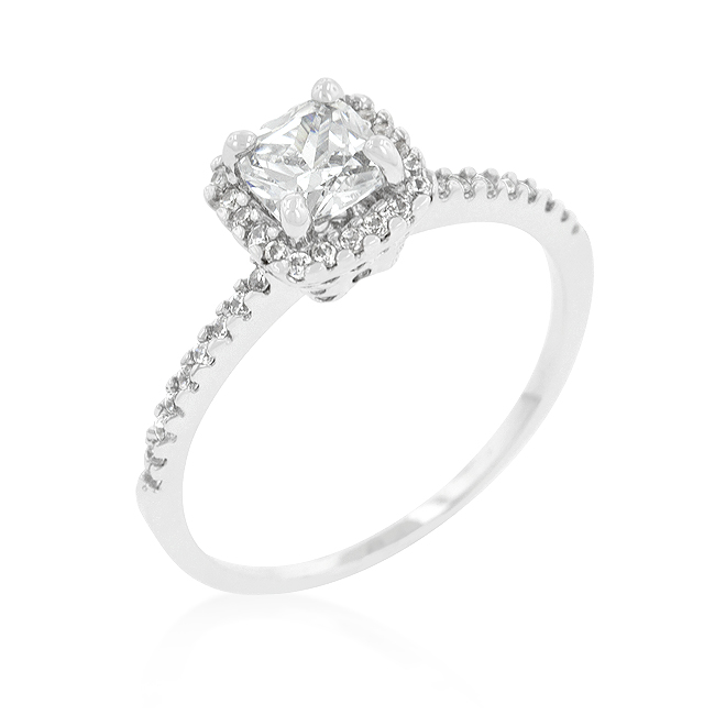 Princess Cut Halo Engagement Ring in Silver Tone