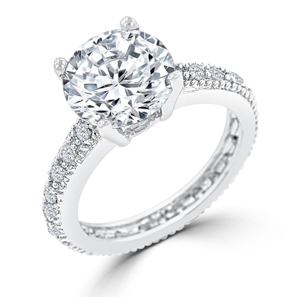4.27 CT CZ Stunning Micropave Engagement Ring