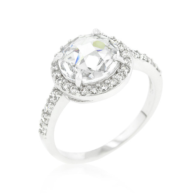 Halo Faceted Silver Tone Engagement Ring 2.8 CT CZ