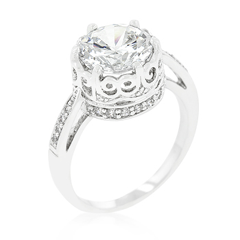 Engagement Royal Crest Filigree CZ Ring