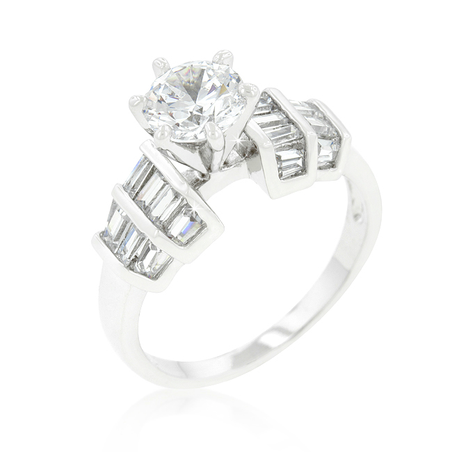 4.33 CT Tapered Baguette Cubic Zirconia Engagement Ring