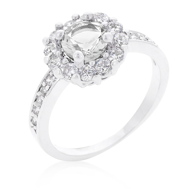 Bella Tore 1 Carat CZ Halo Engagement Ring