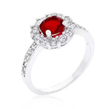 Fashion Ruby Red Cubic Zirconia Halo Engagement Ring