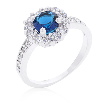 Brilliant Sapphire CZ Blue Halo Engagement Ring 2.1 CT