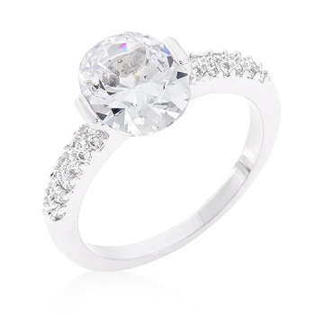 Clear Oval Cut Cubic Zirconia Engagement Ring 1.8 CT