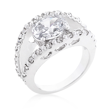 Clear Split Band Engagement Ring 1.2 CT