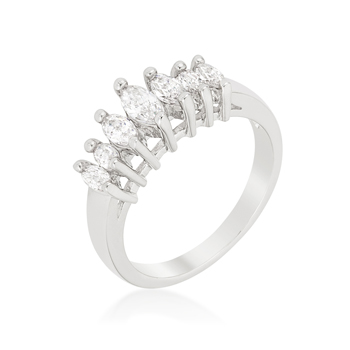 Graduated Marquise Wedding Band .43 CT CZ