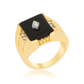 Black Onyx Men's Ring .07 CT