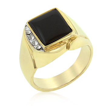 Cocktail Onyx and Crystal Statement Ring