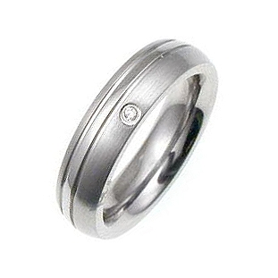 Mens Classic CZ Stainless Steel Wedding Ring