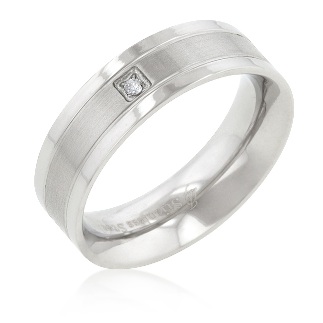 Wedding Band Stainless Steel Solitaire CZ