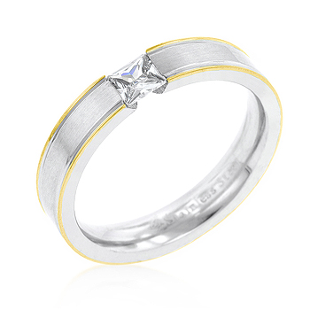 Tension Set Solitaire Stainless Steel Wedding Band