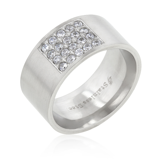 Contemporary Stainless Steel Pave CZ Men's Ring