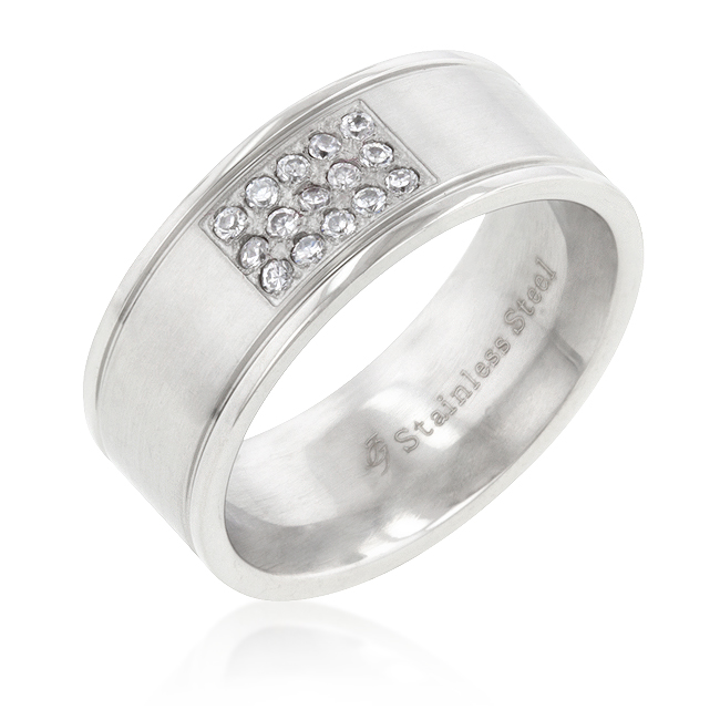Contemporary Stainless Steel Pave 15-Stone Men's Ring