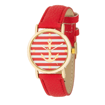Nautical Red Leather Watch