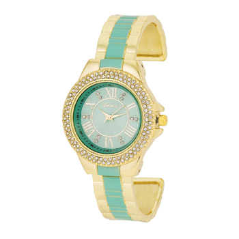 Gold Metal Cuff Watch With Crystals - Mint