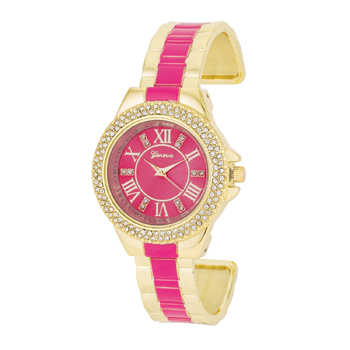 Gold Metal Cuff Watch With Crystals - Pink