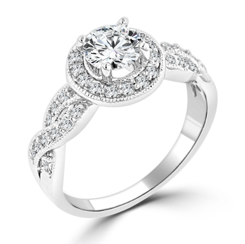 Designer Halo Cubic Zirconia Engagement Ring