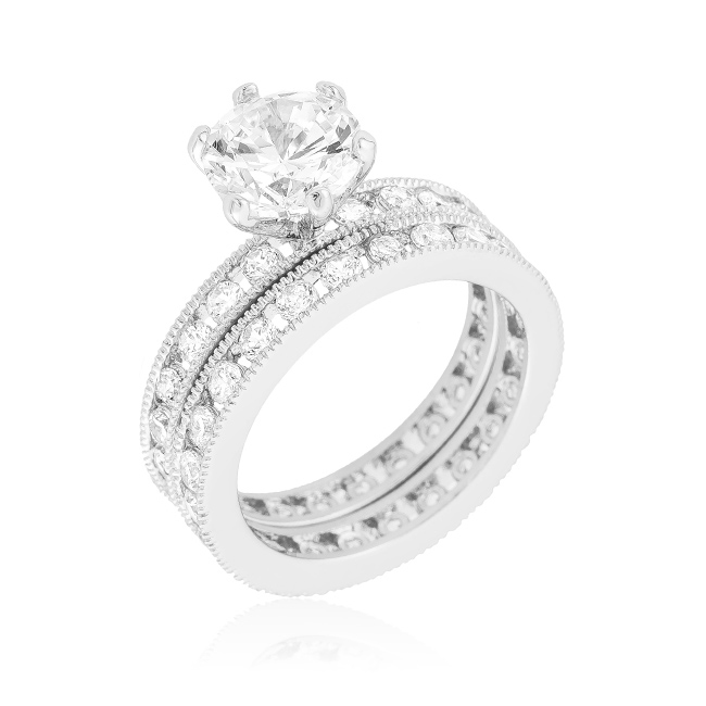 Sterling Silver Cubic Zirconia Wedding Set