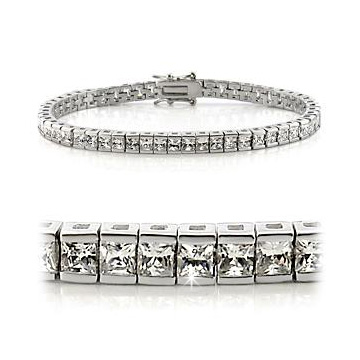 Omega Bracelet Rhodium-plated with Princess Cut Zirconia