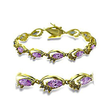 14K Yellow Gold Plated Fashion Bracelet Light Amethyst CZ