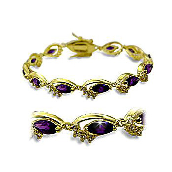 14K Yellow Gold Plated Fashion Bracelet Amethyst CZ