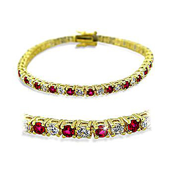 14K Yellow Gold Plated Fashion Bracelet Ruby CZ