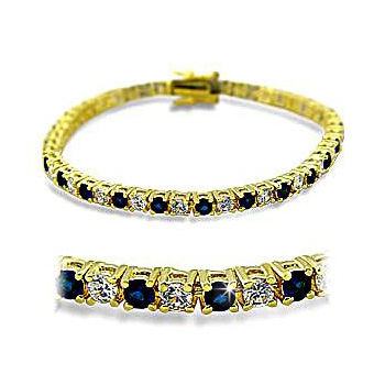 14K Yellow Gold Plated Fashion Bracelet Sapphire CZ