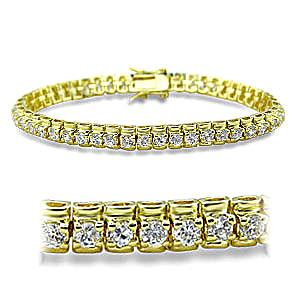 14K Yellow Gold Plated Fashion Bracelet Clear Cubic Zirconia