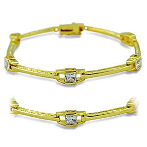 14K Yellow Gold Plated Fashion Bracelet Clear CZ