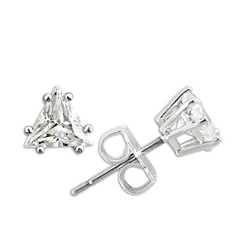 Silver Stud Earrings with 1 CT Cubic Zirconia in Prong Setting