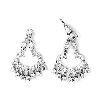 Sterling Silver .925 Earrings Clear CZ