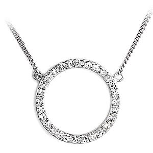 Silver Tone Fashion Necklace Clear Crystal