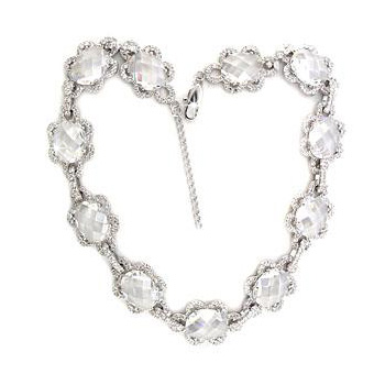 Petite Silver Tone Fashion Necklace Clear CZ