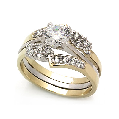Tone Engagement Rings on Classic Engagement Ring W Solitaire Hand Selected Cubic Zirconia